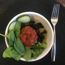 Spaghetti Squash, Black Beans, Raw Cucumber and Spinach